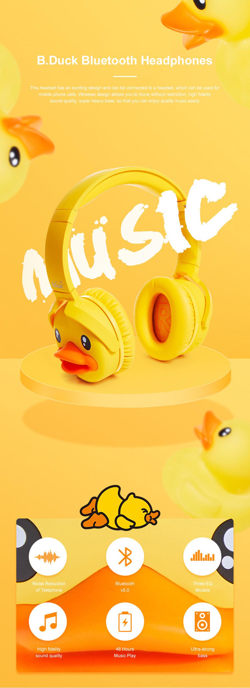 B.Duck Bluetooth Headphones Wireless Headset for Women Men Mobile Noise Reduction Sports Headphones Music Stereo 0