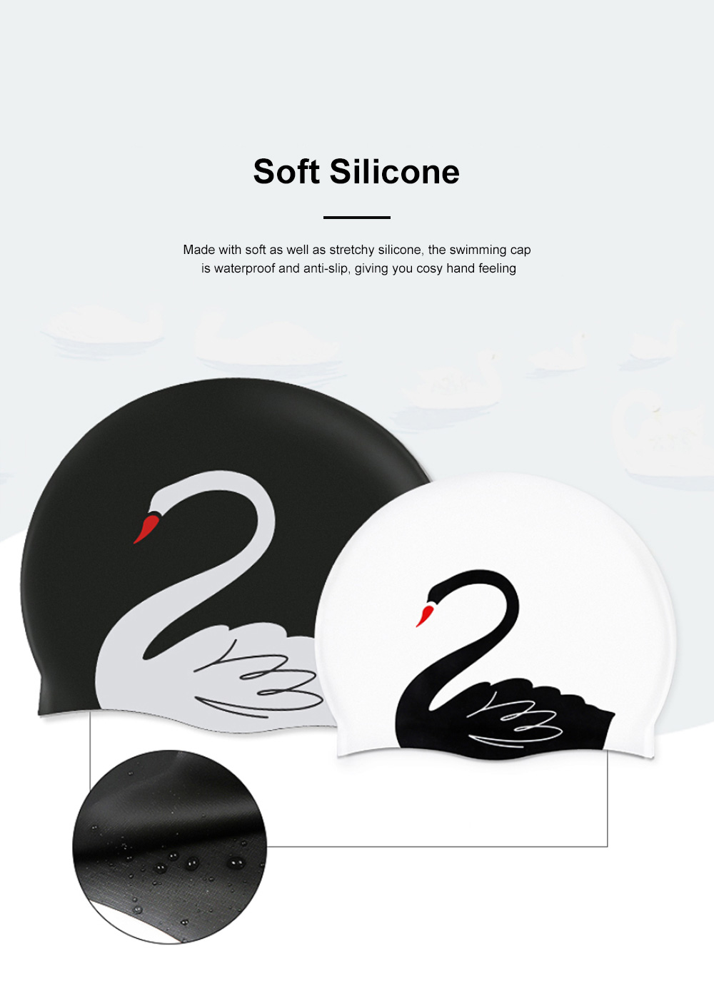 Soft Silicone Swimming Cap with Stylish Swan Pattern Super Elastic Ear Protection for Adult Kids 1