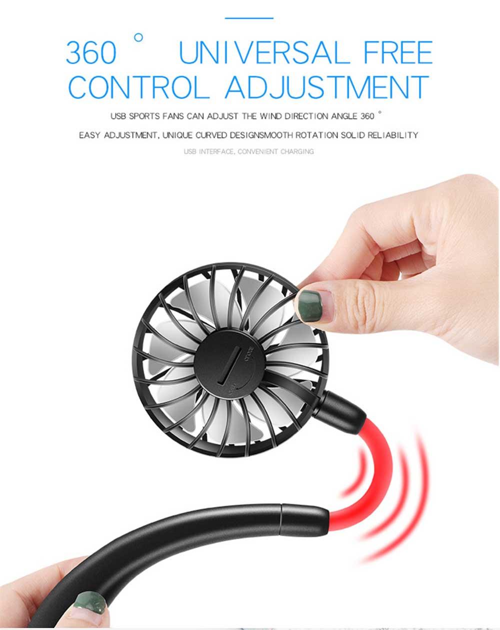 Mini Usb Neck Fan Neckband Small Desk Fan Handheld Wearable Rechargeable Air Cooling Fan 8