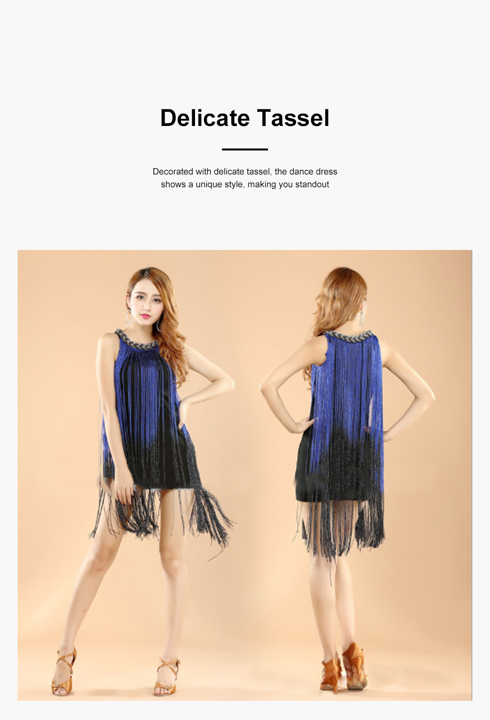 Adult Latin Dance Dress with Delicate Unique Tassel Dual Colors Spliced Stretchy Polyester for Women 5
