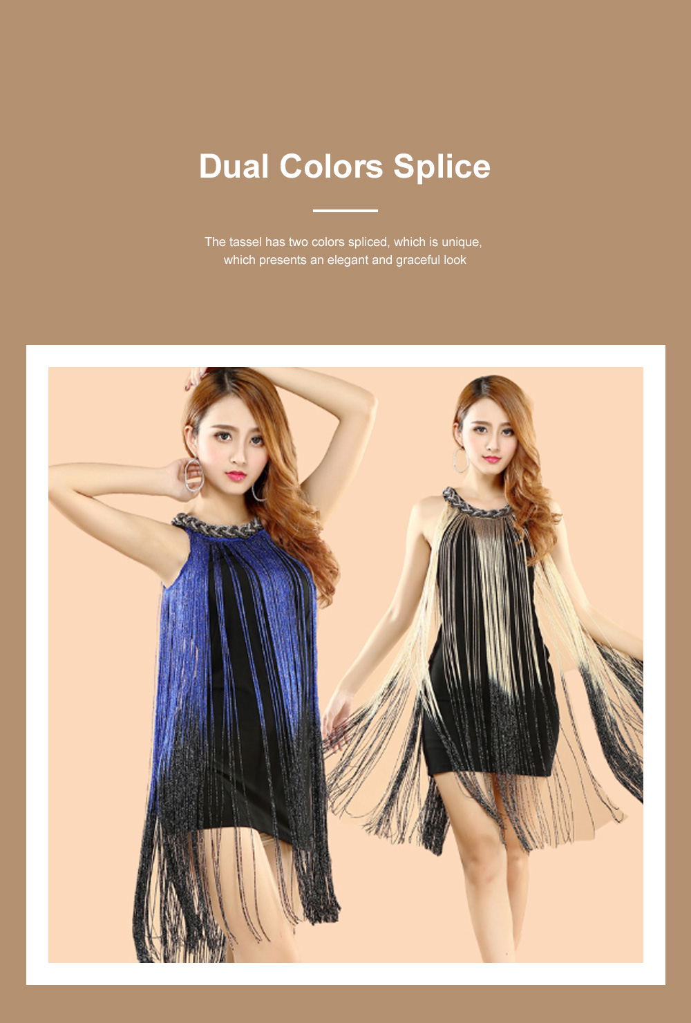 Adult Latin Dance Dress with Delicate Unique Tassel Dual Colors Spliced Stretchy Polyester for Women 4