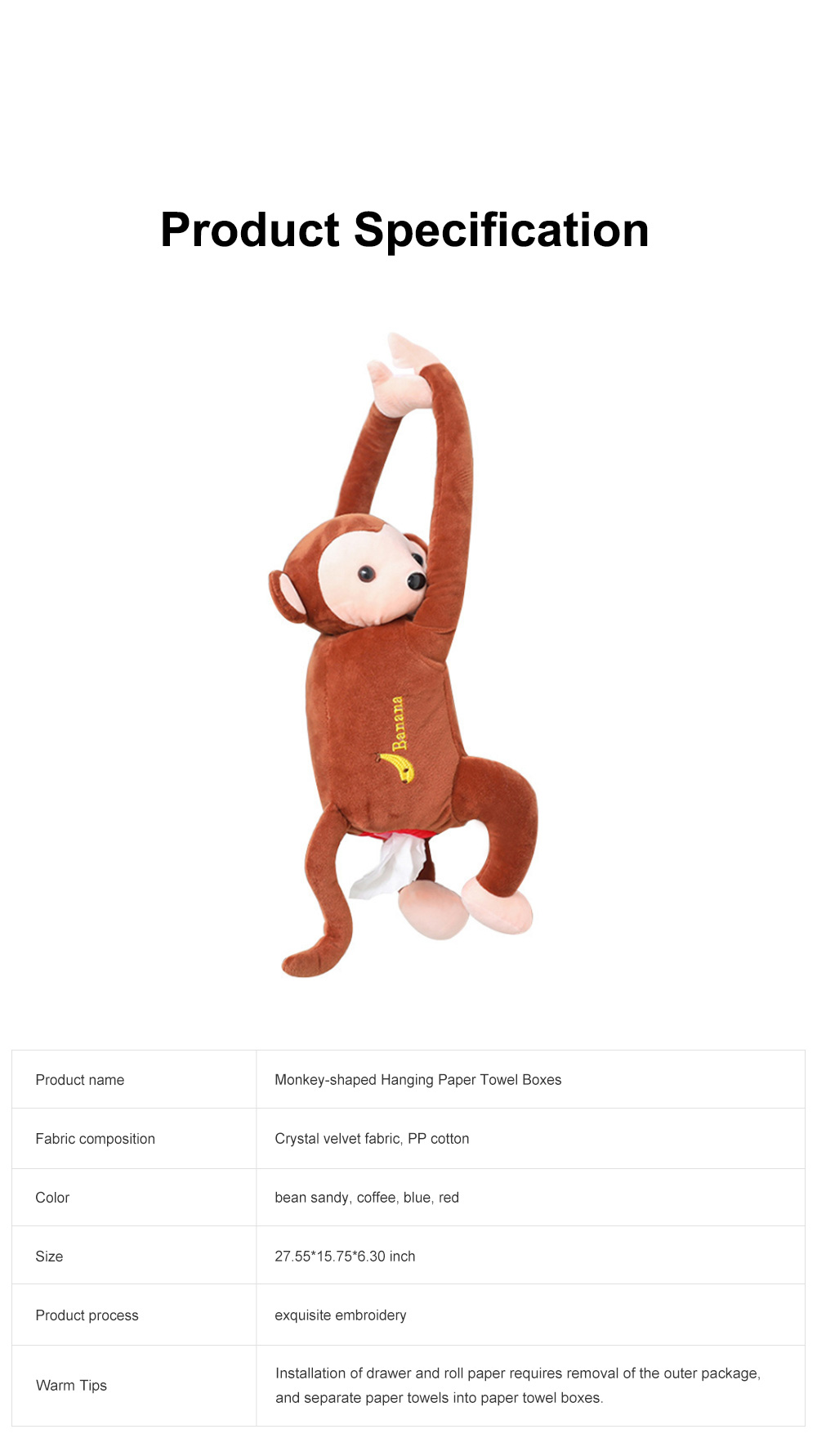 Monkey-shaped Hanging Paper Towel Boxes Popular Car Tissue Bag Pumping Carton Paper Towels Case TikTok Hot 7