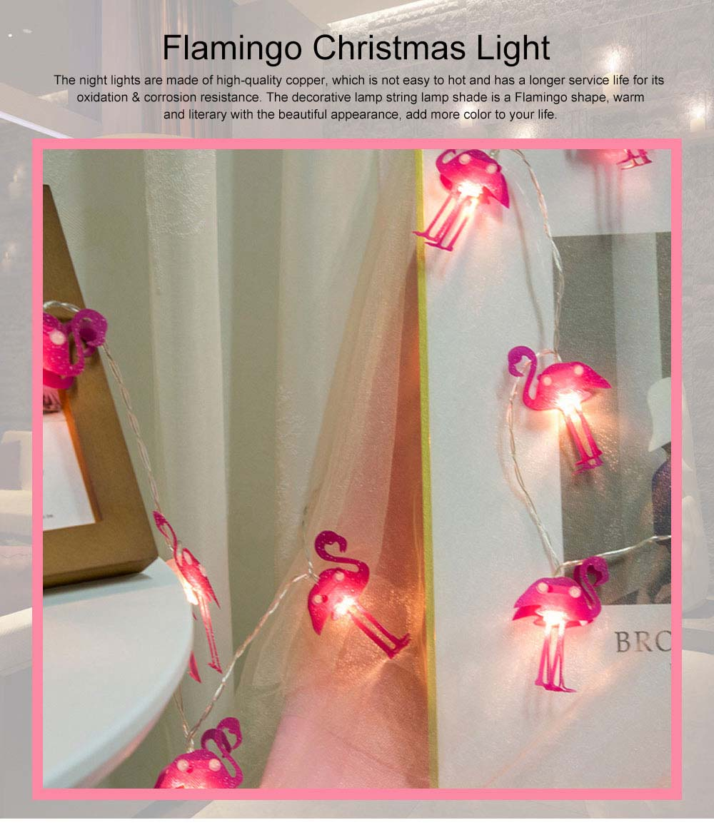 Literary Flamingo Christmas Light Night Lamp for Festival Decoration Waterproof LED Light String for Indoors or Outdoors Decoration Battery Power Supply 0