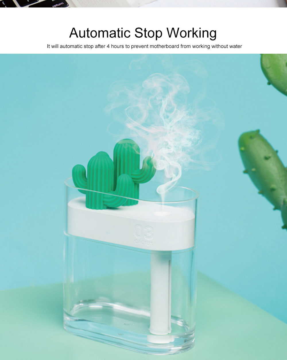 160ml Crystal Bionic Cactus Humidifier Mini Aromatherapy Sprayer Humidifiers Craft Ornament Best Gift 5