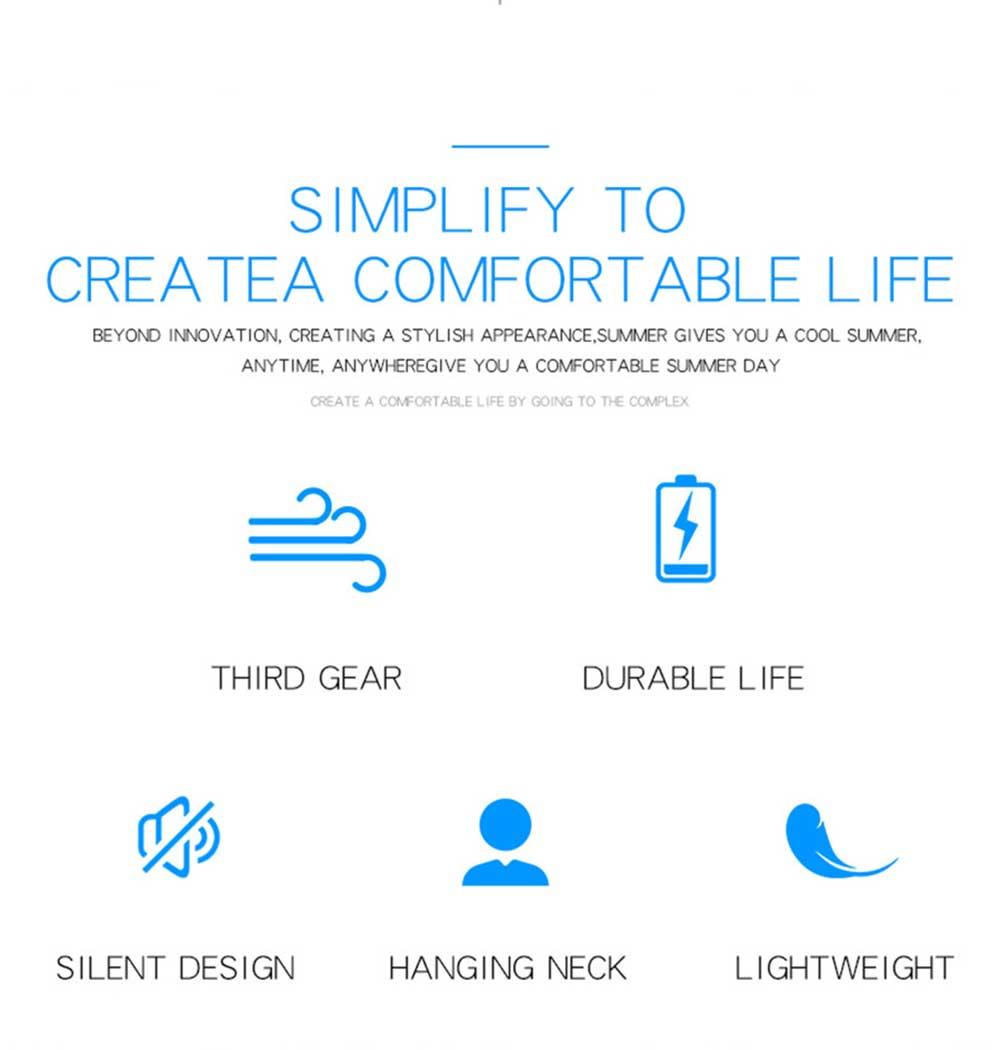 Mini Usb Neck Fan Neckband Small Desk Fan Handheld Wearable Rechargeable Air Cooling Fan 2