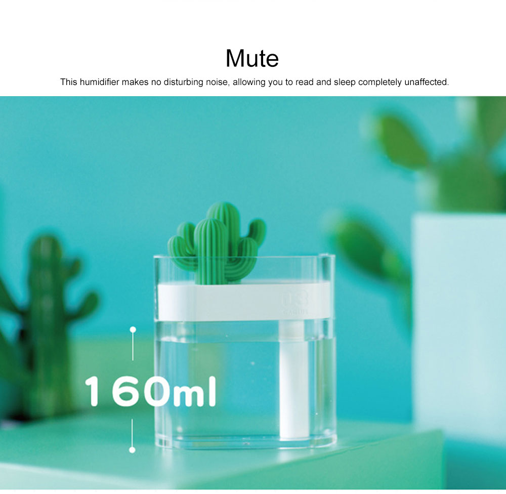 160ml Crystal Bionic Cactus Humidifier Mini Aromatherapy Sprayer Humidifiers Craft Ornament Best Gift 3