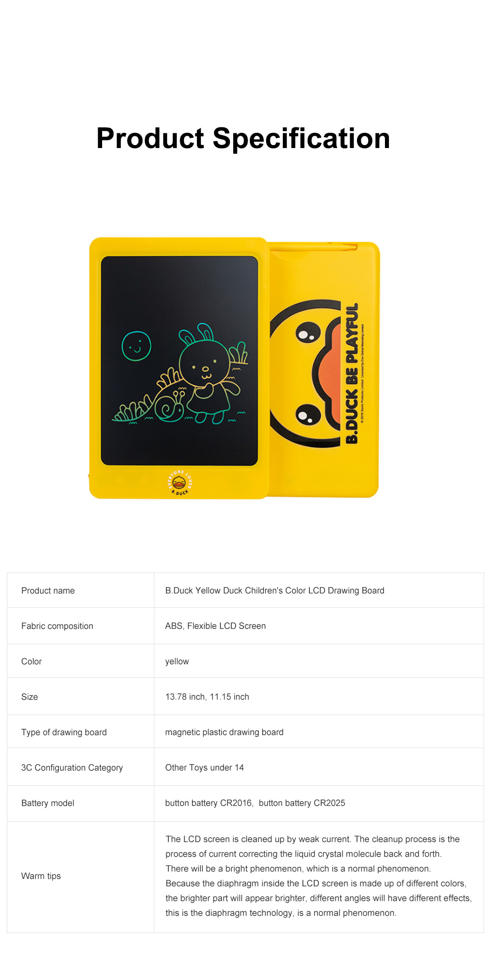 Little Yellow Duck Children's Color LCD Drawing Board 10.5 inch 8.5 inch Handwriting Board Graffiti Drawing Board Electronic Blackboard Writing Board 7