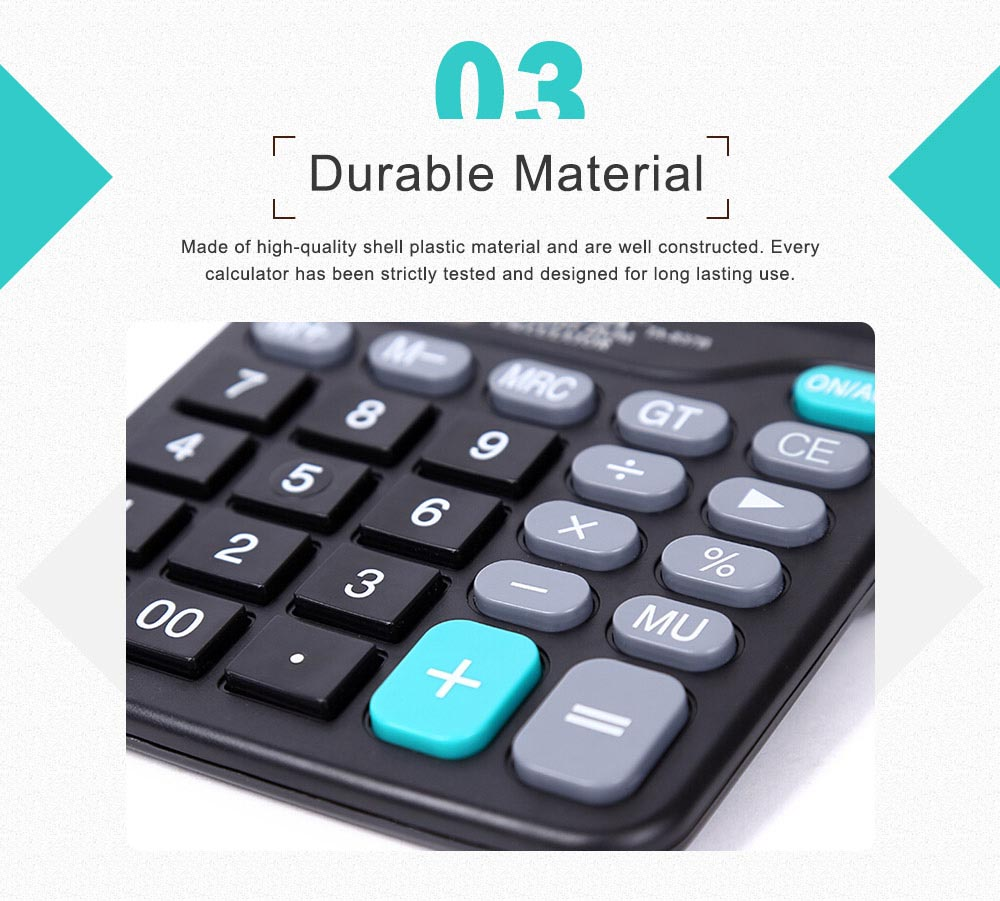12 Digit Dual Power Source Calculator Standard Basic Calculator with Large LCD Display and Large Buttons for Office Supplies 3