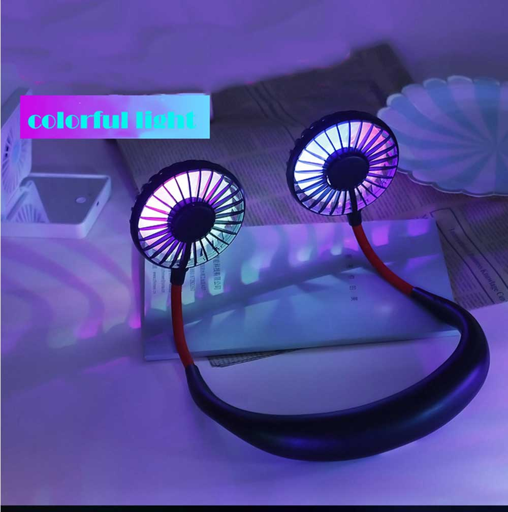 Mini Usb Neck Fan Neckband Small Desk Fan Handheld Wearable Rechargeable Air Cooling Fan 16