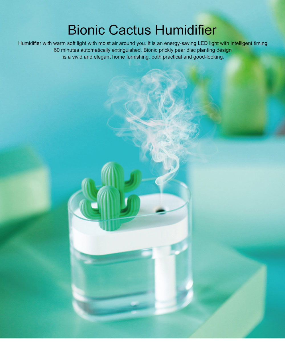 160ml Crystal Bionic Cactus Humidifier Mini Aromatherapy Sprayer Humidifiers Craft Ornament Best Gift 0