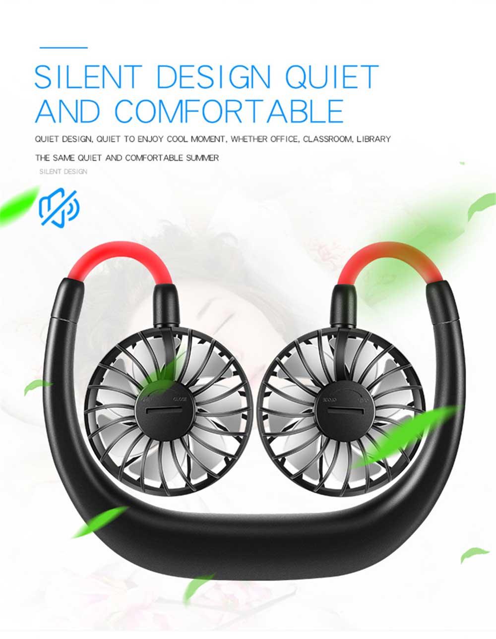 Mini Usb Neck Fan Neckband Small Desk Fan Handheld Wearable Rechargeable Air Cooling Fan 3