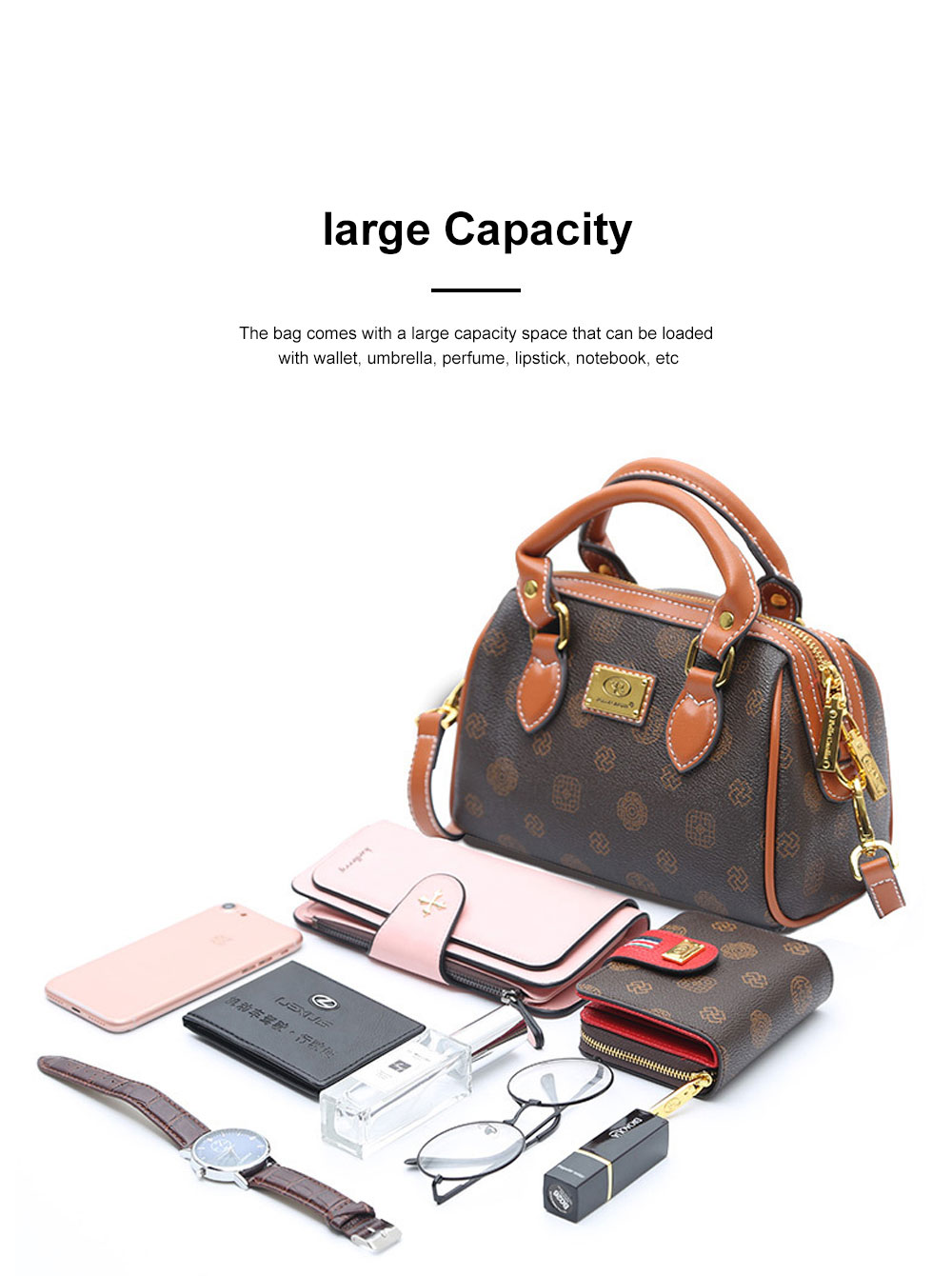 Women Cross-Body Bag with Super Comfortable Handles Textured PU Leather Shoulder Bag 3