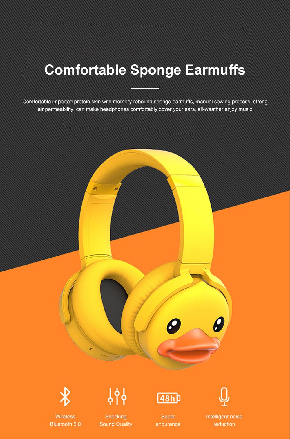 B.Duck Bluetooth Headphones Wireless Headset for Women Men Mobile Noise Reduction Sports Headphones Music Stereo 7