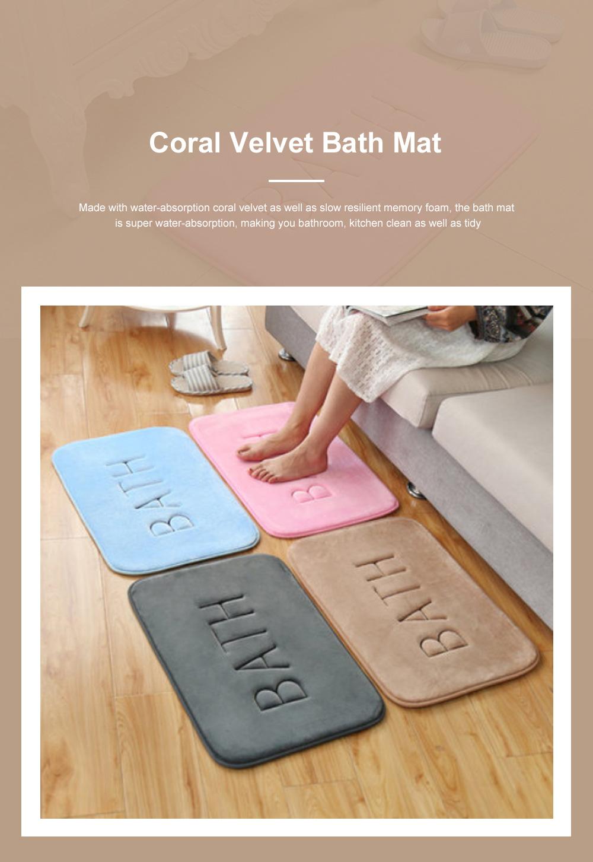 Coral Velvet Bath Mat Absorbent Cozy Bathroom Rug Carpet Memory Foam Non Slip Machine Washable 0
