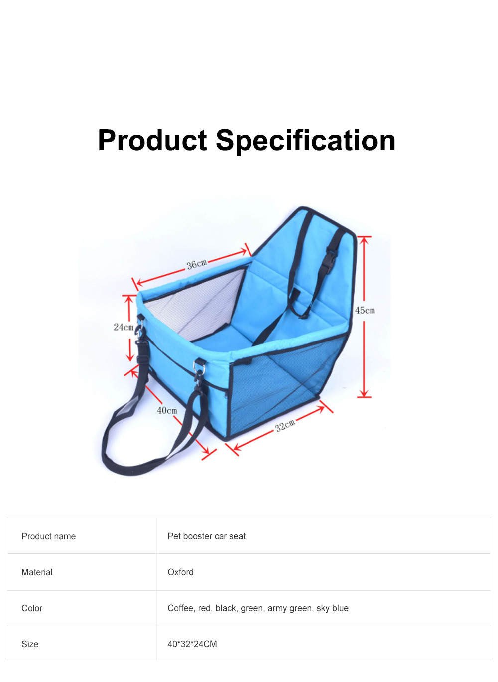 Collapsible Pet Booster Car Seat Cat Car Carrier with Safety Leash and Zipper Storage Pocket with 2 Support Bars for Small Dog 7