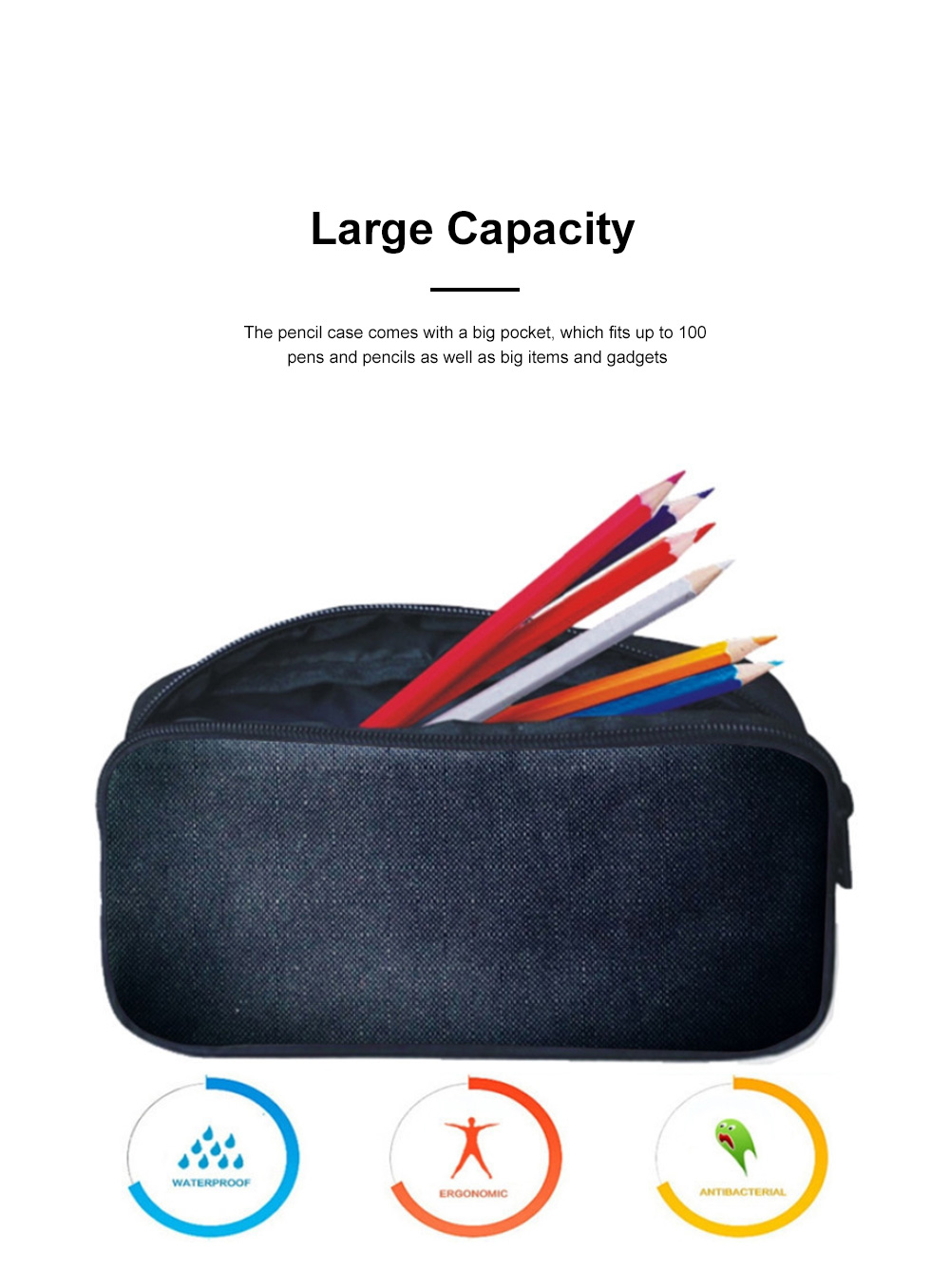 Simple Large Stationary Case Cosmetic Pouch Pen Bag Pencil Case Pouch with Large Capacity & Smooth Zipper 3