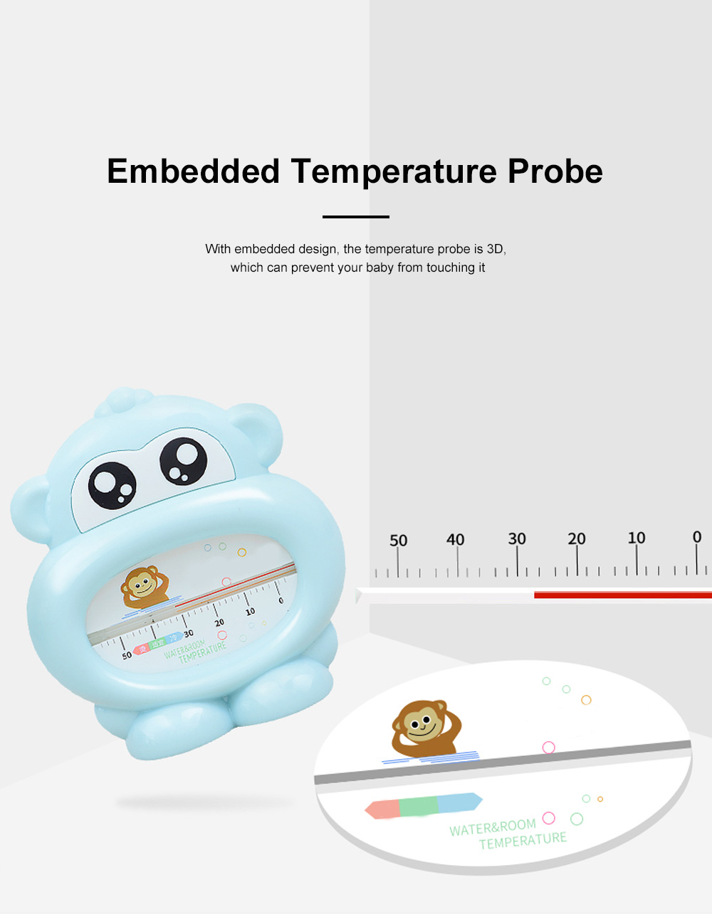 Baby Bath Thermometer Water Thermometer Monkey Shape Temperature for Infants Toddler Shower All Season 2
