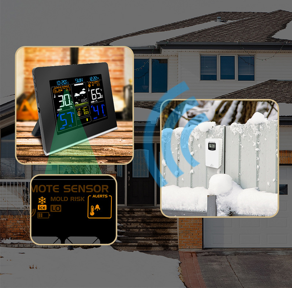 RF433 LCD Color Weather Station Clock Thermometer Humidity Snooze Clock Sunrise Sunset Calendar 12H 24H Display USB Charge + Outdoor Wireless Sensor 4
