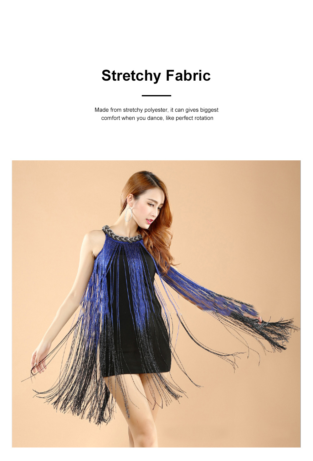 Adult Latin Dance Dress with Delicate Unique Tassel Dual Colors Spliced Stretchy Polyester for Women 1