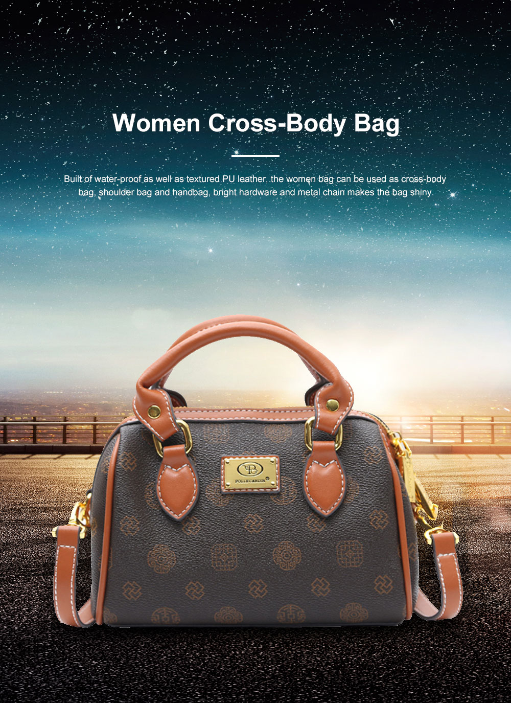 Women Cross-Body Bag with Super Comfortable Handles Textured PU Leather Shoulder Bag 0