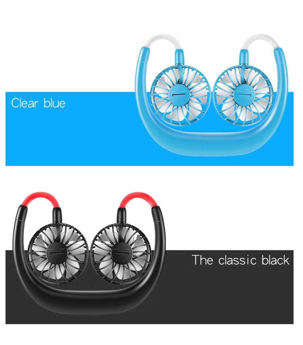 Mini Usb Neck Fan Neckband Small Desk Fan Handheld Wearable Rechargeable Air Cooling Fan 11