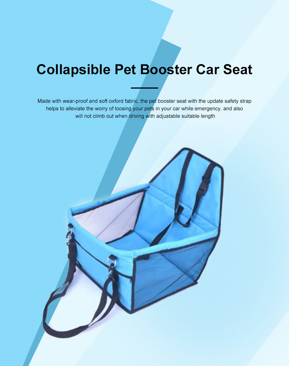 Collapsible Pet Booster Car Seat Cat Car Carrier with Safety Leash and Zipper Storage Pocket with 2 Support Bars for Small Dog 0