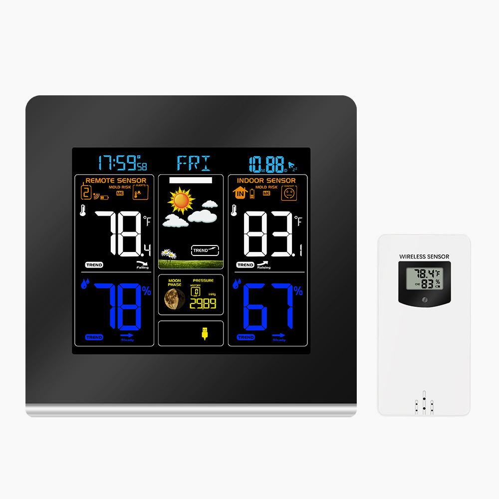 RF433 LCD Color Weather Station Clock Thermometer Humidity Snooze Clock Sunrise Sunset Calendar 12H 24H Display USB Charge + Outdoor Wireless Sensor 0