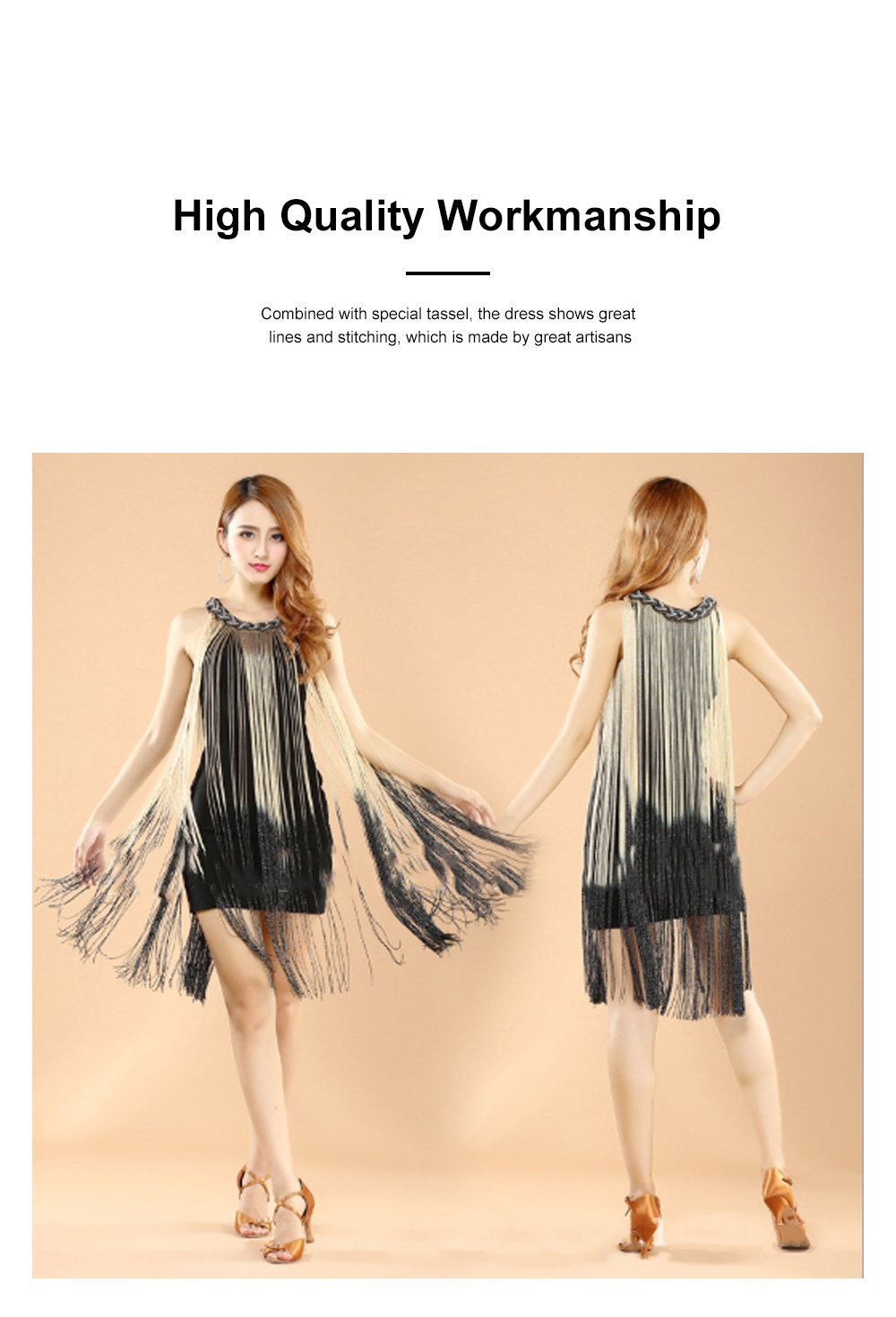 Adult Latin Dance Dress with Delicate Unique Tassel Dual Colors Spliced Stretchy Polyester for Women 3
