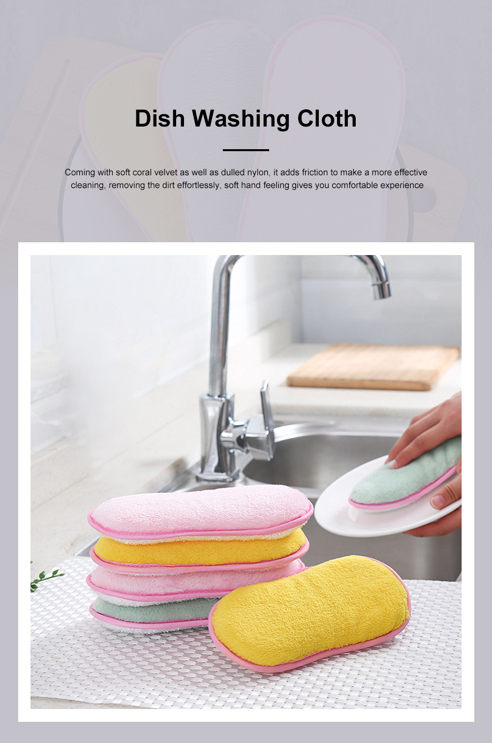 Dish Washing Cloth Soft Coral Velvet Washer with Water-Absorption Sponge for Kitchen 0
