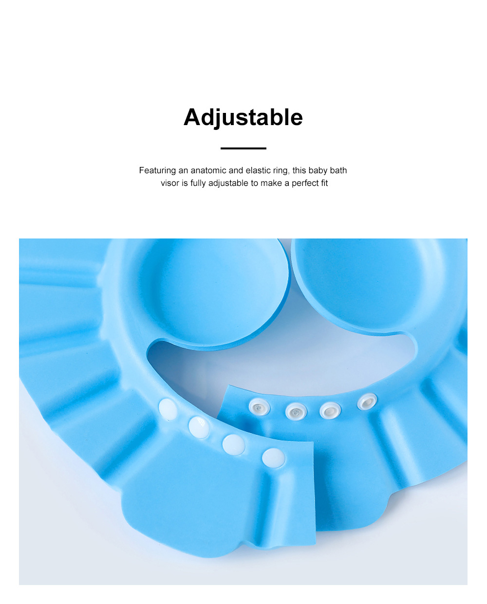 Adjustable Baby Bath Visor Cap Waterproof & Elastic Ring Hat for Shower, Bathtub, Sun Bathing, Hair Cutting 2