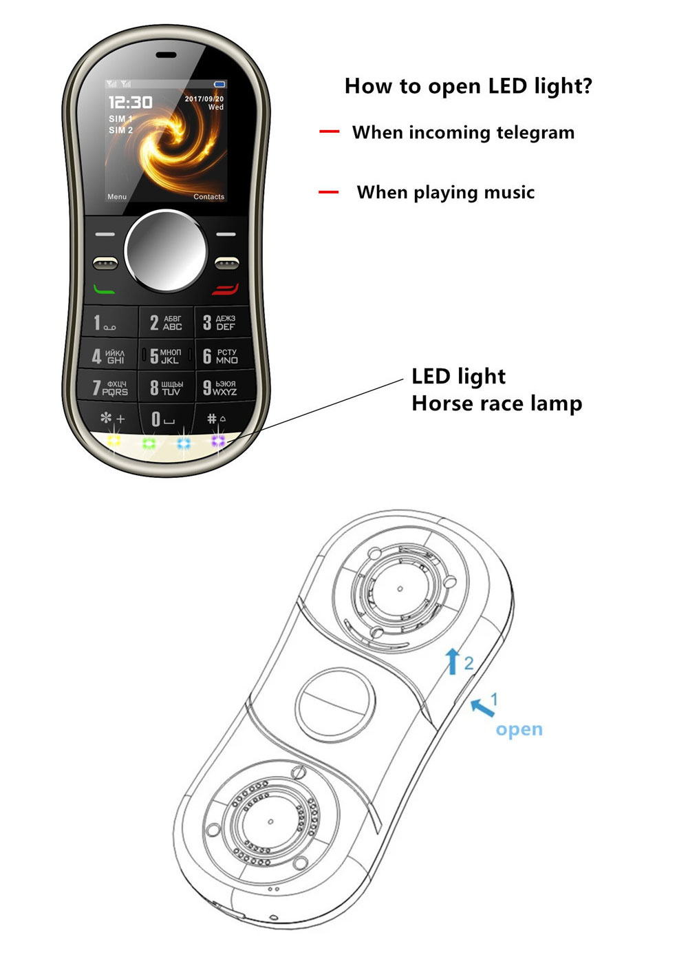 Multifunction Mini Phone Gyro Spinner Mobile Dual SIM Card GSM 900 1800 GPRS Bluetooth FM Radio Hand Spinner Cellphone With English Keyboard 2