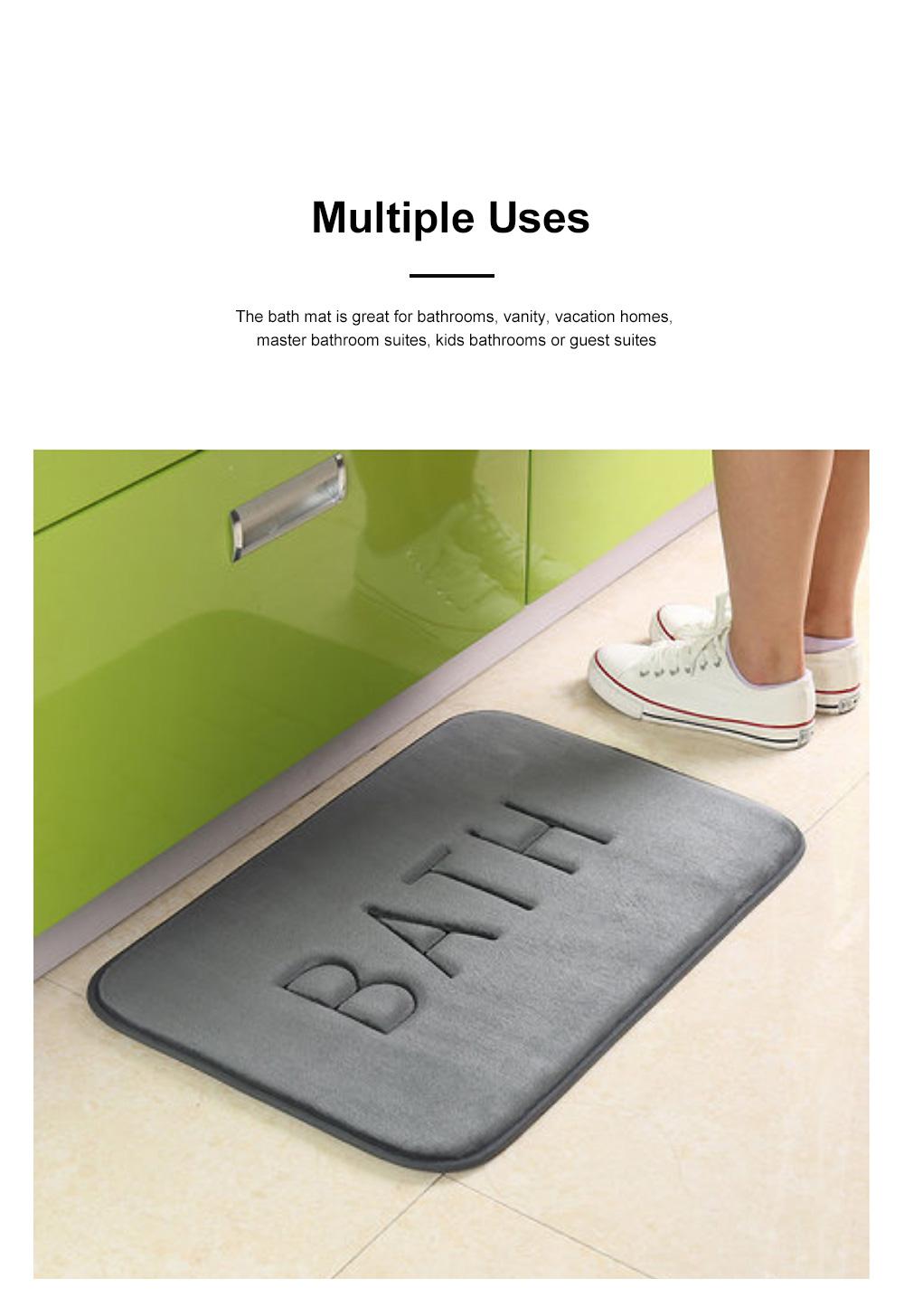 Coral Velvet Bath Mat Absorbent Cozy Bathroom Rug Carpet Memory Foam Non Slip Machine Washable 1