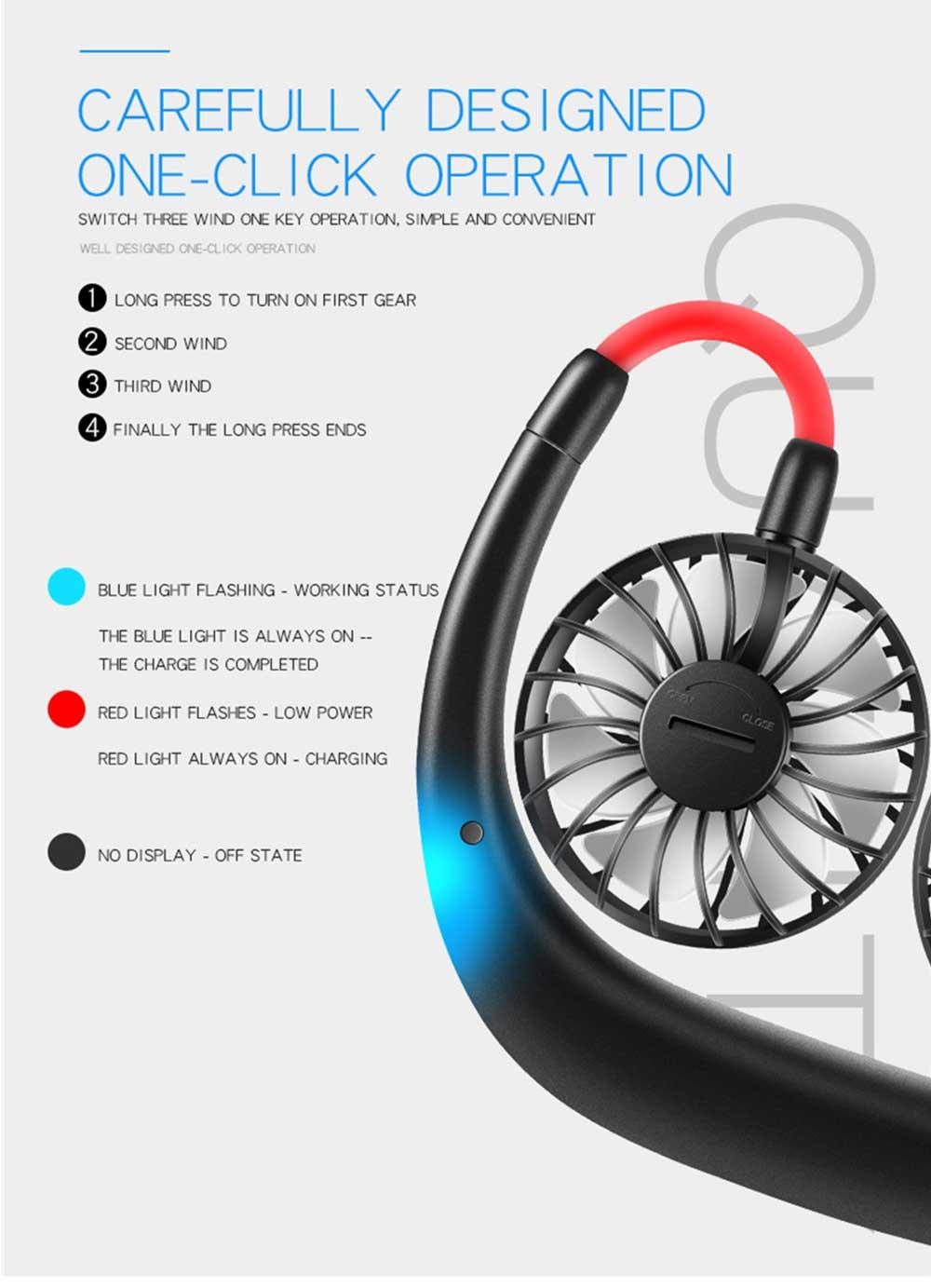 Mini Usb Neck Fan Neckband Small Desk Fan Handheld Wearable Rechargeable Air Cooling Fan 10