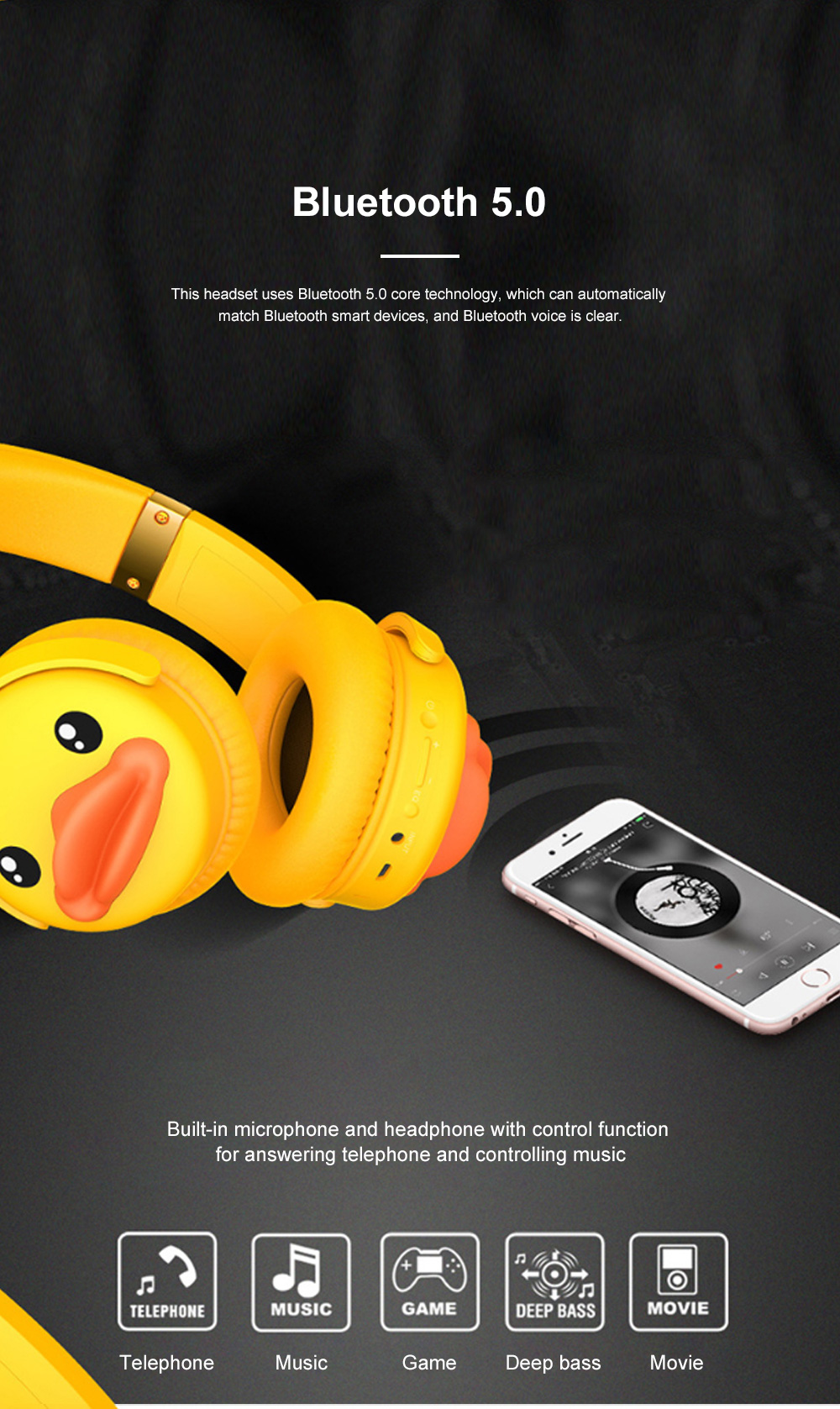 B.Duck Bluetooth Headphones Wireless Headset for Women Men Mobile Noise Reduction Sports Headphones Music Stereo 8