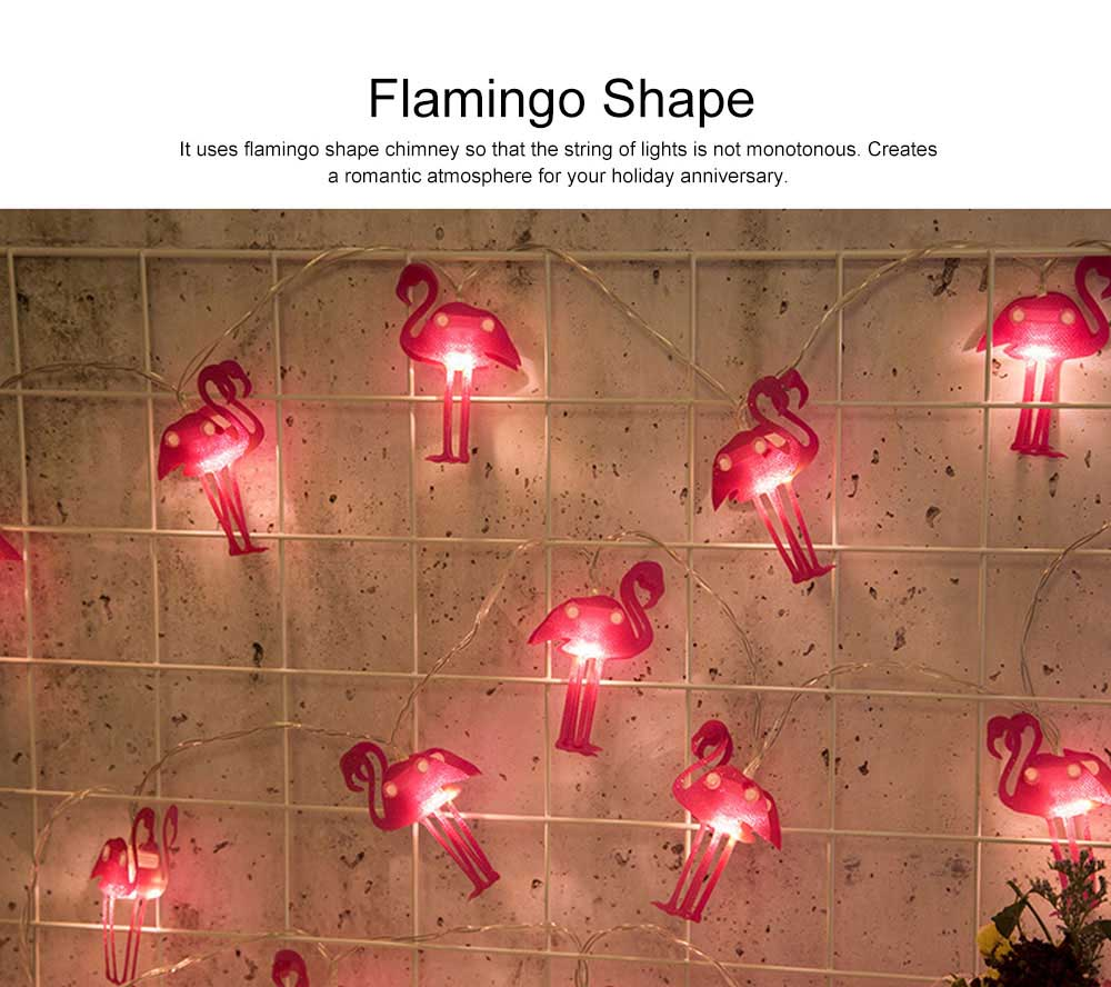 Literary Flamingo Christmas Light Night Lamp for Festival Decoration Waterproof LED Light String for Indoors or Outdoors Decoration Battery Power Supply 4