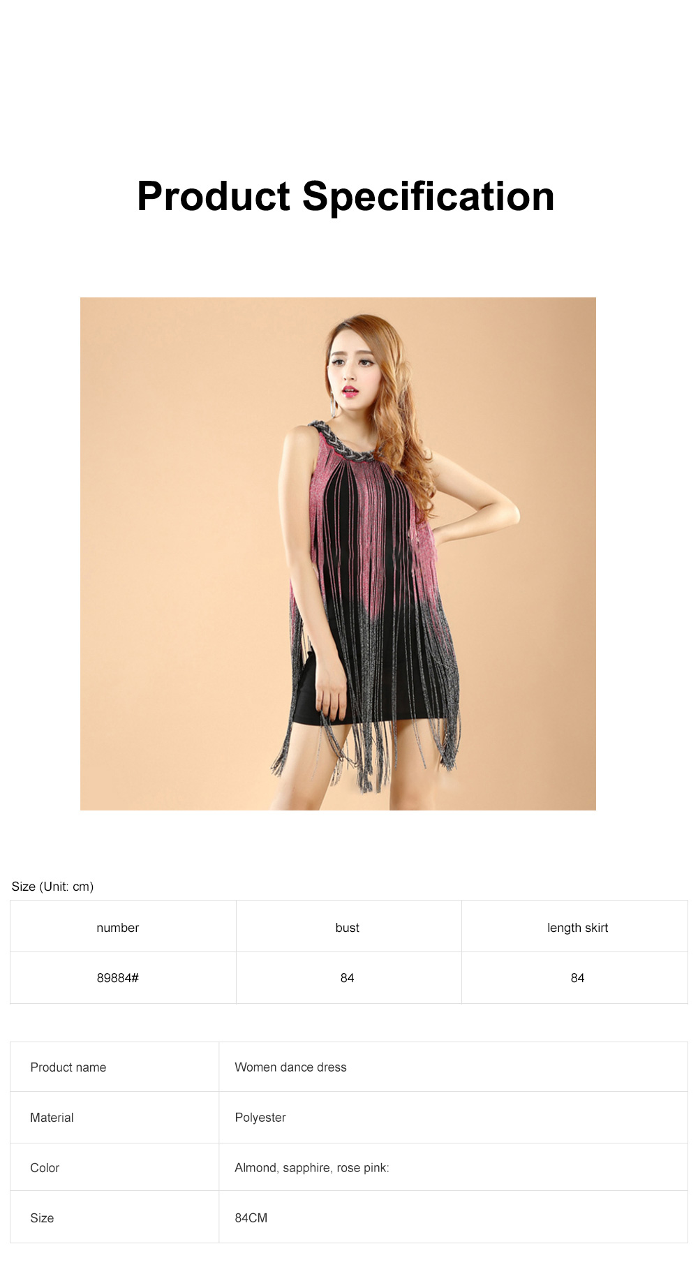 Adult Latin Dance Dress with Delicate Unique Tassel Dual Colors Spliced Stretchy Polyester for Women 6