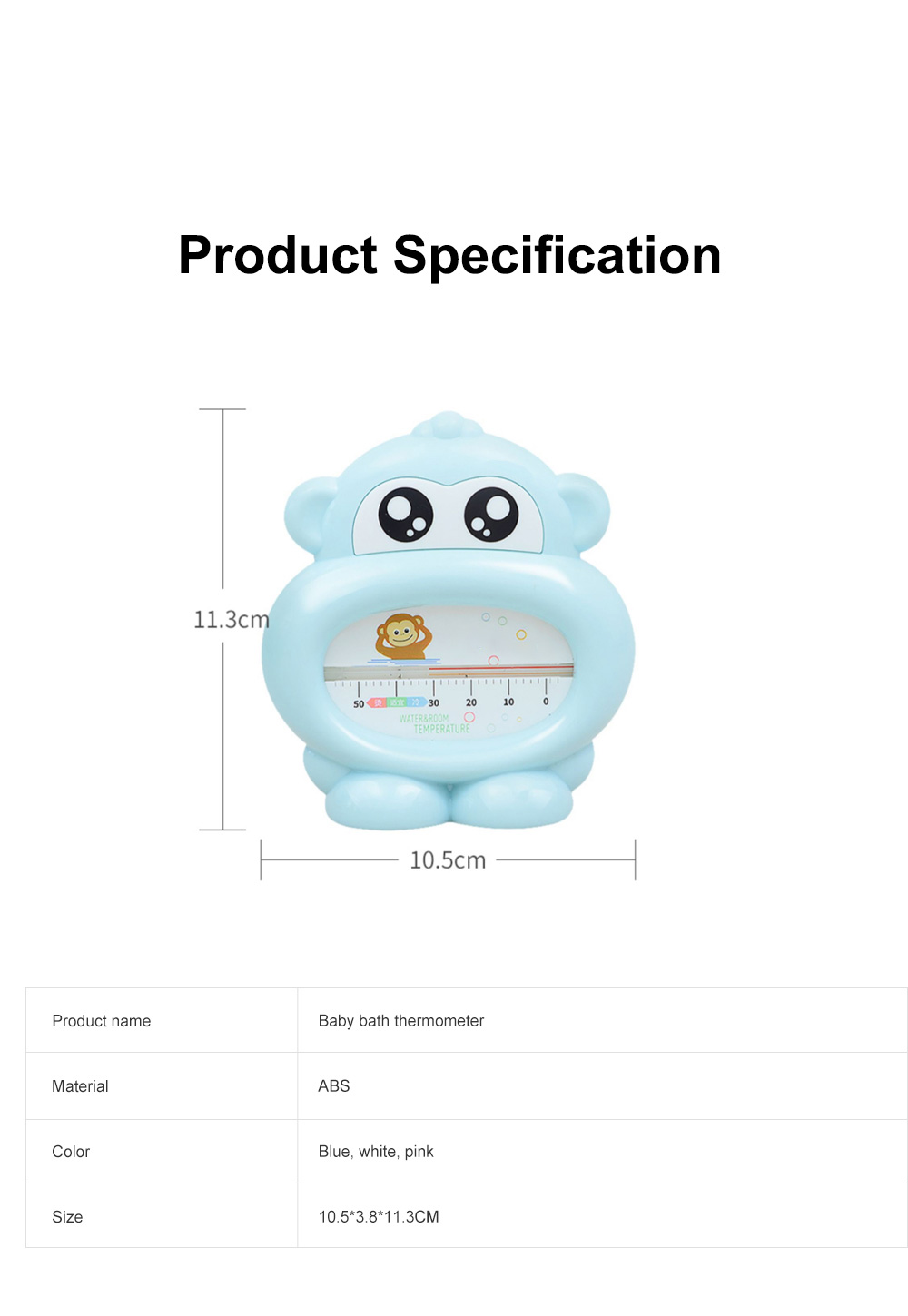 Baby Bath Thermometer Water Thermometer Monkey Shape Temperature for Infants Toddler Shower All Season 6