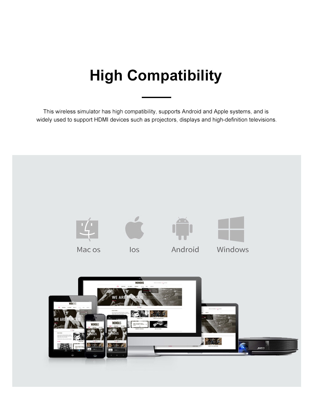 5G Wireless Display Receiver HD Non-Delay Same Screen Device Support Google Home Chrome Android IOS Windows Wifi Display 1