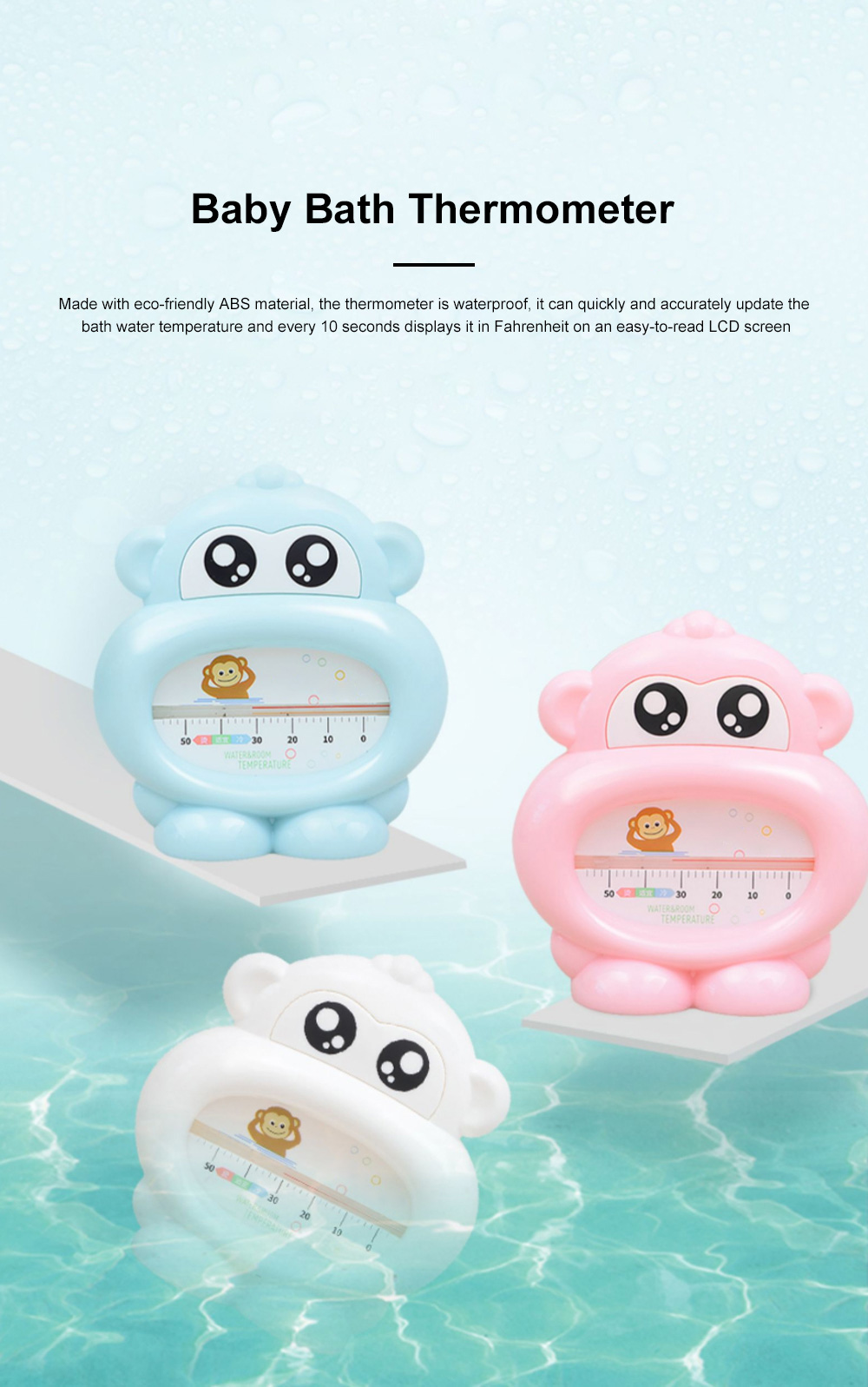 Baby Bath Thermometer Water Thermometer Monkey Shape Temperature for Infants Toddler Shower All Season 0