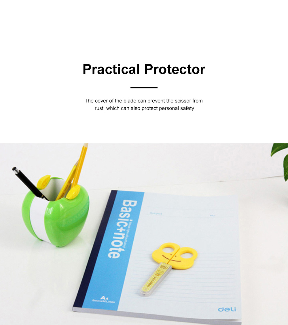 Students Cartoon Cute Scissor with Lovely Fog Pattern Practical Safe Protector for Handwork 2