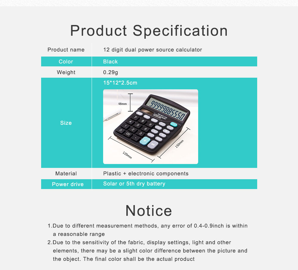 12 Digit Dual Power Source Calculator Standard Basic Calculator with Large LCD Display and Large Buttons for Office Supplies 6