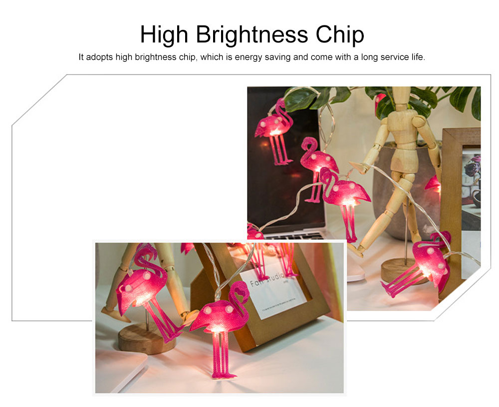 Literary Flamingo Christmas Light Night Lamp for Festival Decoration Waterproof LED Light String for Indoors or Outdoors Decoration Battery Power Supply 1