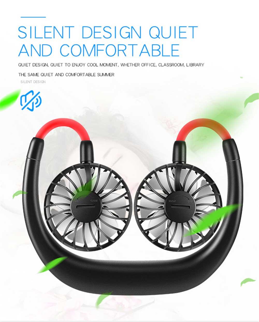 Mini Usb Neck Fan Neckband Small Desk Fan Handheld Wearable Rechargeable Air Cooling Fan 6