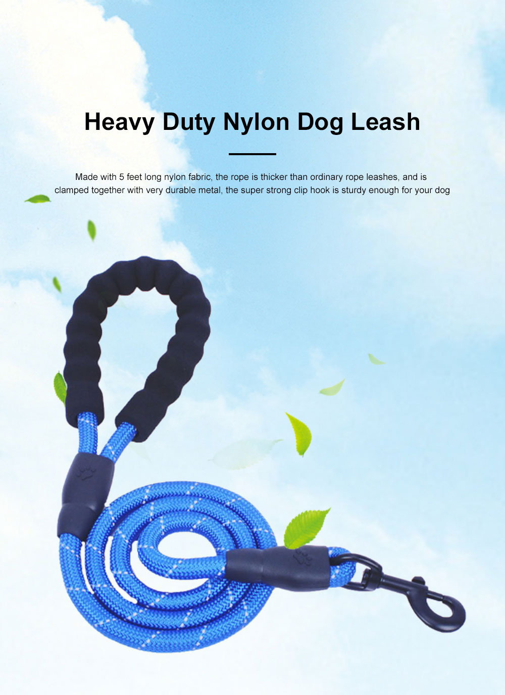 Heavy Duty Nylon Dog Leash Sturdy Pet Reflective Dog Lead with Comfortable Padded Handle Perfect for Medium and Large Dogs 0