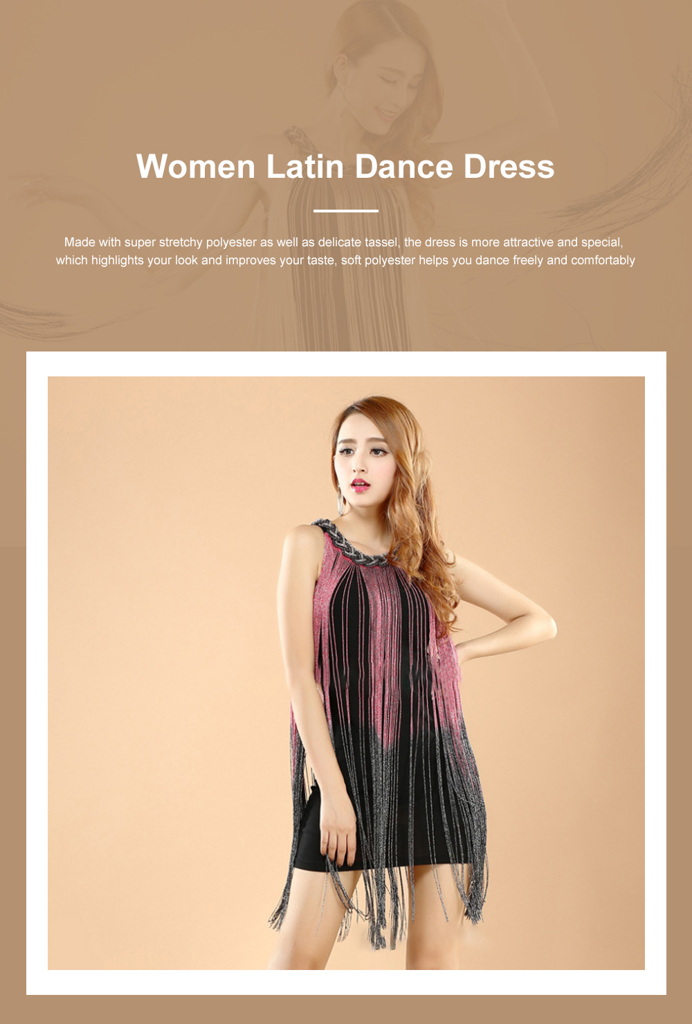 Adult Latin Dance Dress with Delicate Unique Tassel Dual Colors Spliced Stretchy Polyester for Women 0