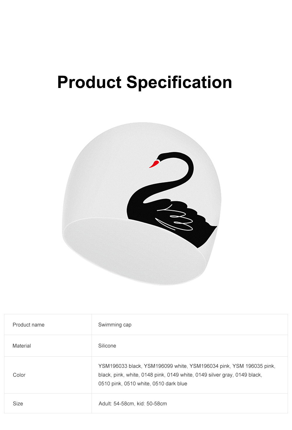 Soft Silicone Swimming Cap with Stylish Swan Pattern Super Elastic Ear Protection for Adult Kids 6