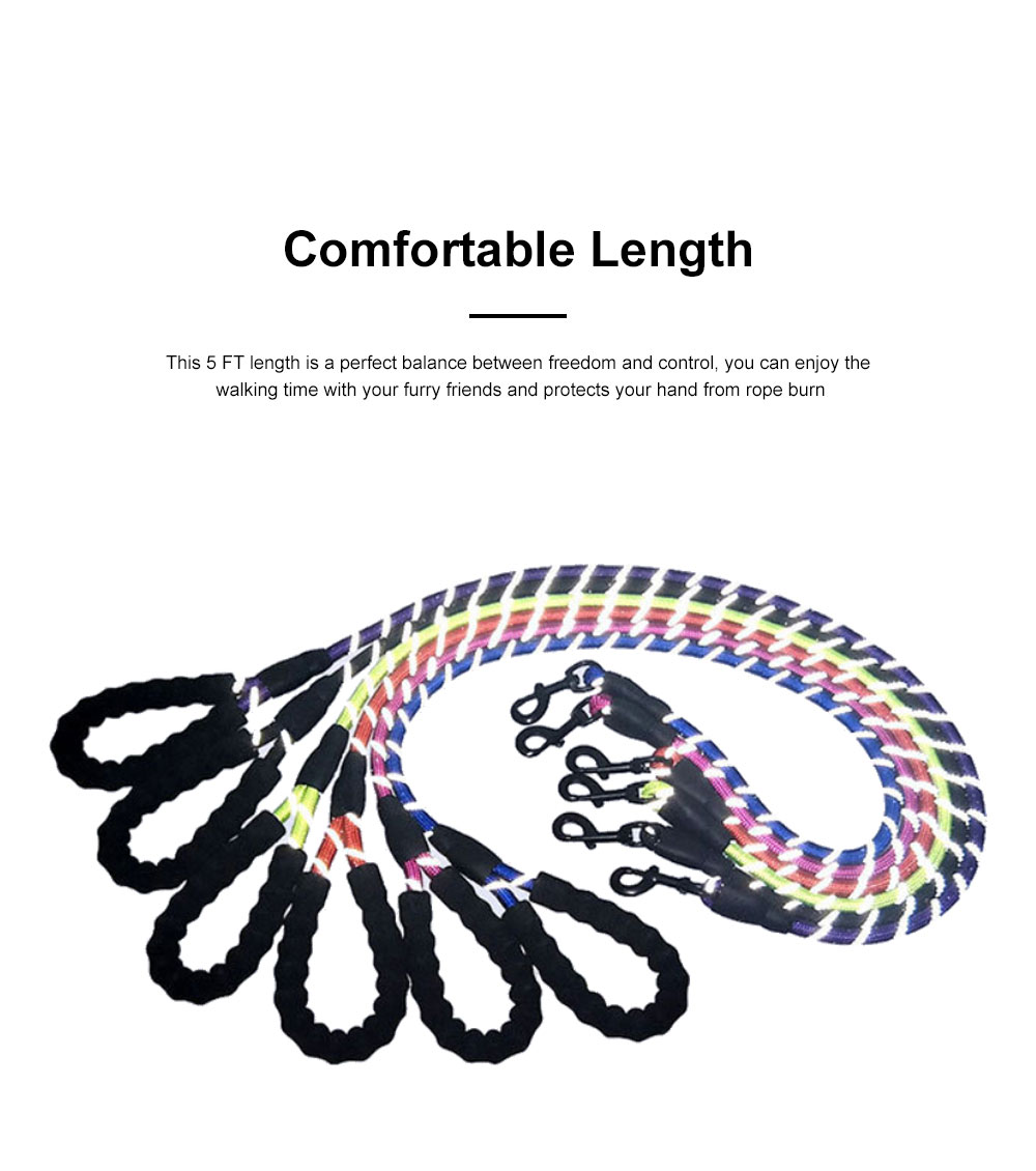 Heavy Duty Nylon Dog Leash Sturdy Pet Reflective Dog Lead with Comfortable Padded Handle Perfect for Medium and Large Dogs 3