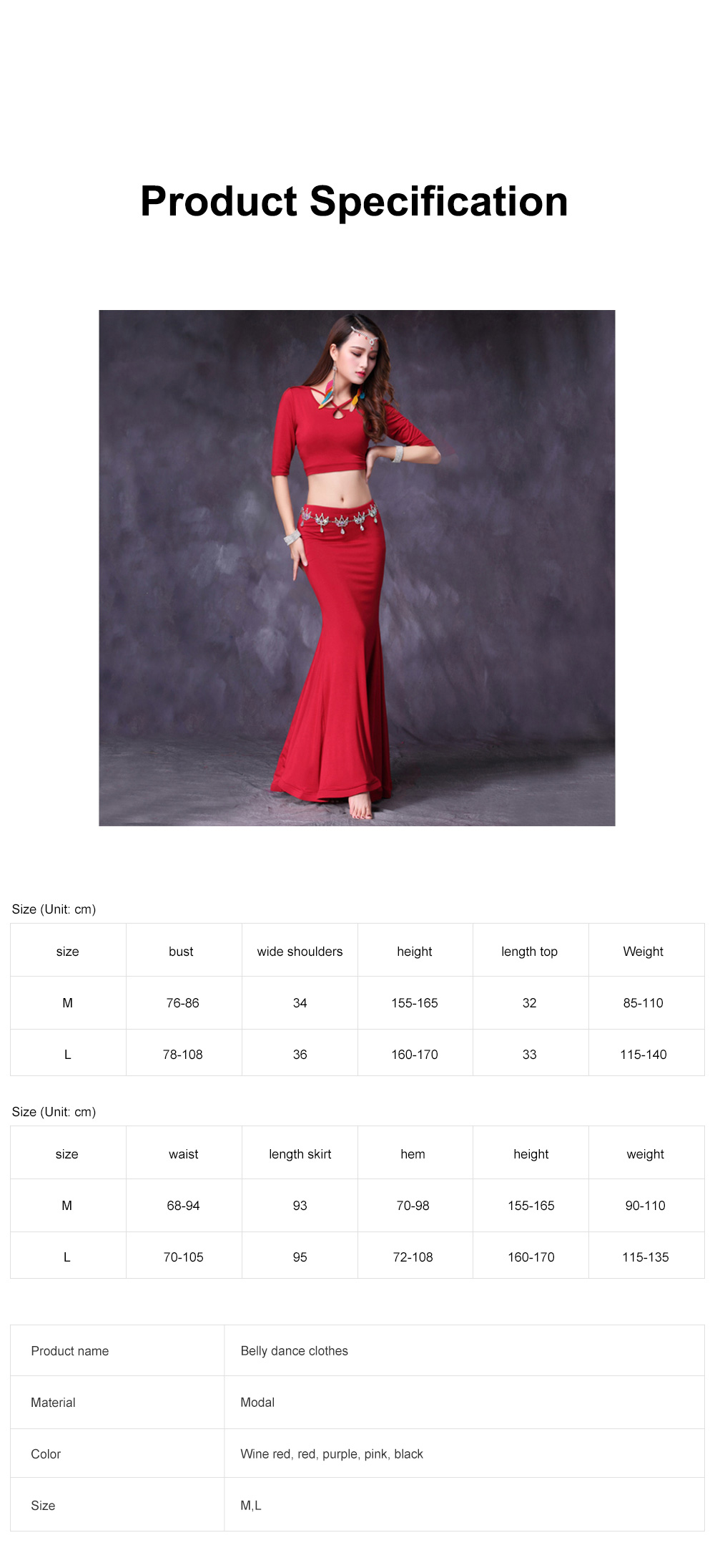 Belly Dance Costume Solid Color Set with Jewelry Decoration Fishtail Hemline Sheathe Dress 6
