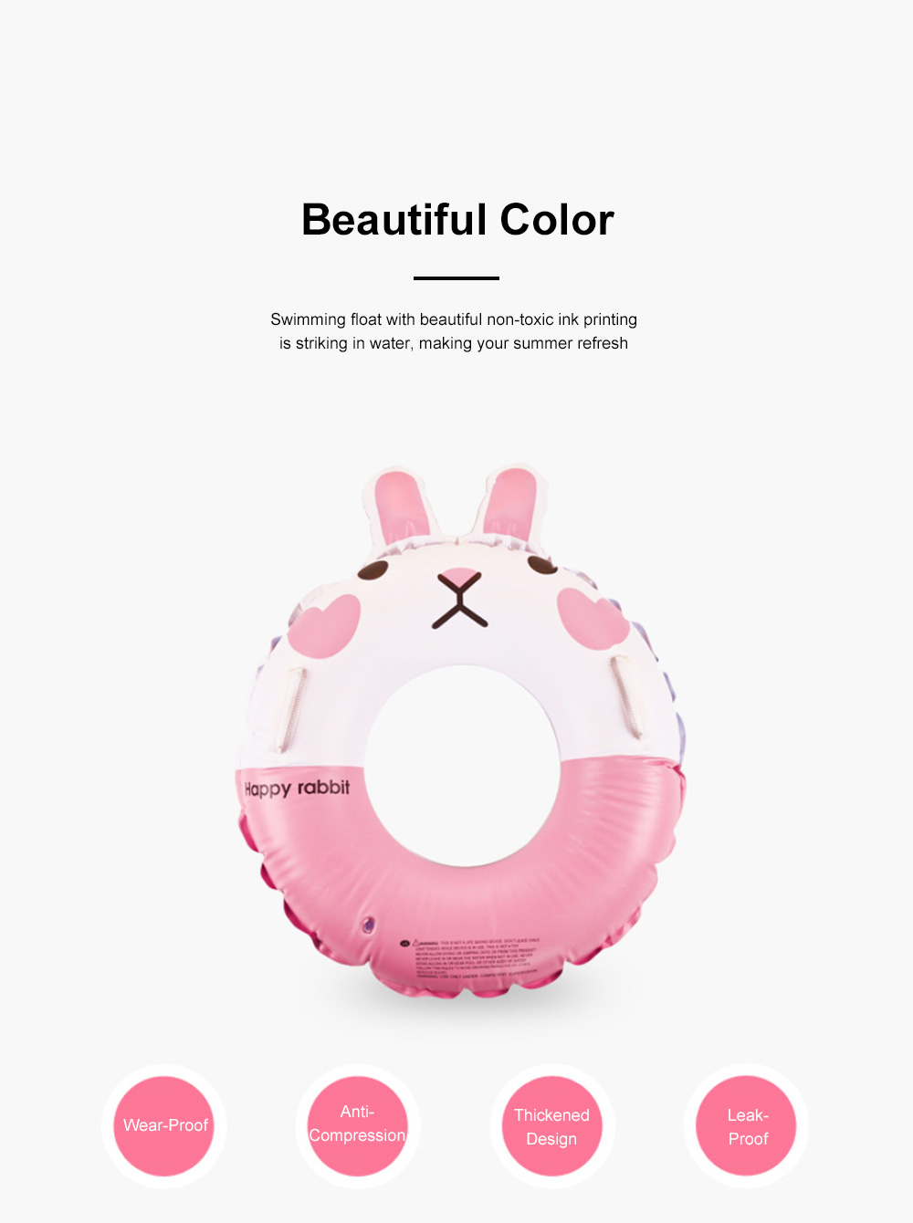 Kid Pool Inflatable Cartoon Rabbit Swimming Ring Anti-Leak Safe Children Swimming Tube 1