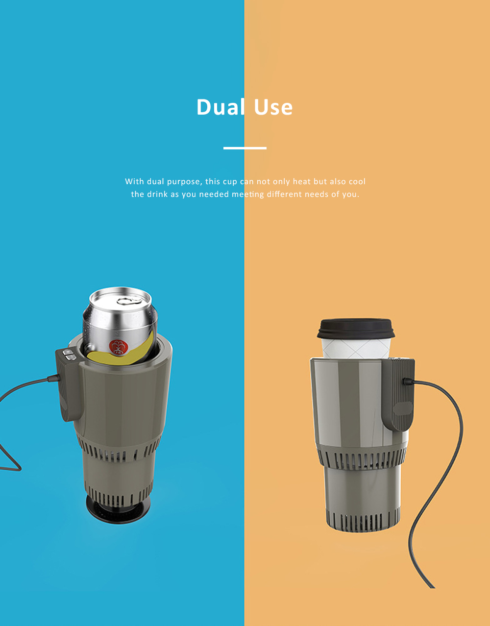 Portable Delicate Dual Purpose Car Heating Cooling Cup Household Traveling Quick Refrigerating Warming Mug 2